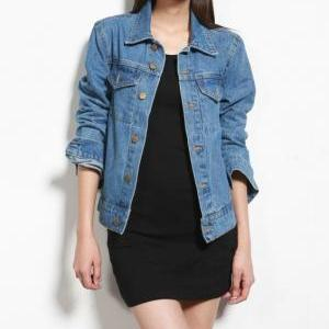 Medium Washed Denim Jacket Featurin..