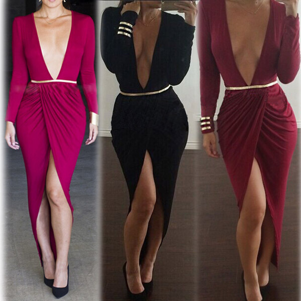fc569be3100 Sexy Deep V Long Sleeve Split Women s Fashion Cocktail Dress Club Nightwear  Midi Prom Dress