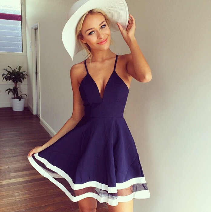 FREE SHIPPING Women s Sexy Deep V Neck Sleeveless Spaghetti Strap Organza Navy  Blue White Stripe Trim Prom Party Skater Dress 6aa1b2c5b
