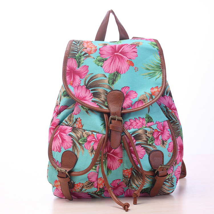 Hibiscus Flower Tropical Print Canvas Backpack On Luulla