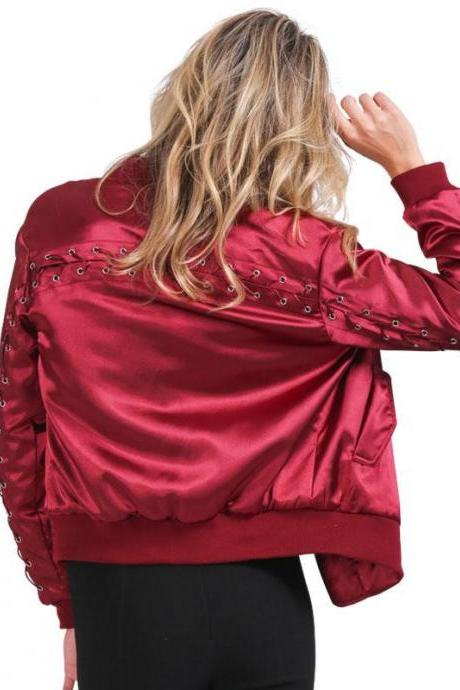 Lace-Up Satin Bomber Jacket