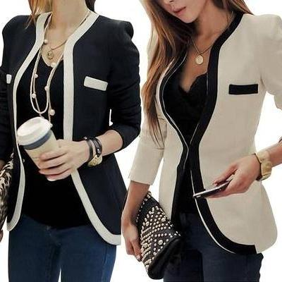 Slim Fit Blazer with Contrast Trim Fashion Women Black and White Jacket Coat
