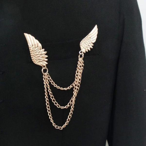 Punk Vintage Diamond Crystal Angel Wing Brooch Women's Fashion Collar Brooch as Valentine's Gift