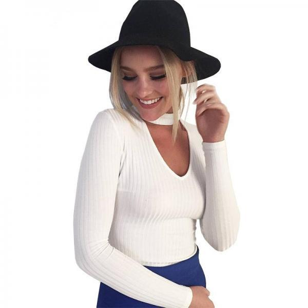 Knitted Slim Fit Choker Sweater with Plunging Neckline