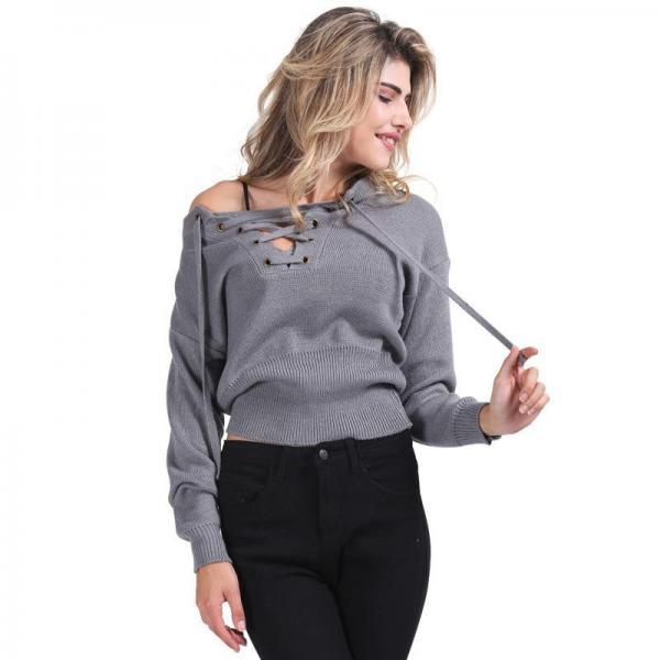 Women Autumn Winter Fashion Lace Up Sexy Elastic Hem Knitted Sweater Pullover Top One Size